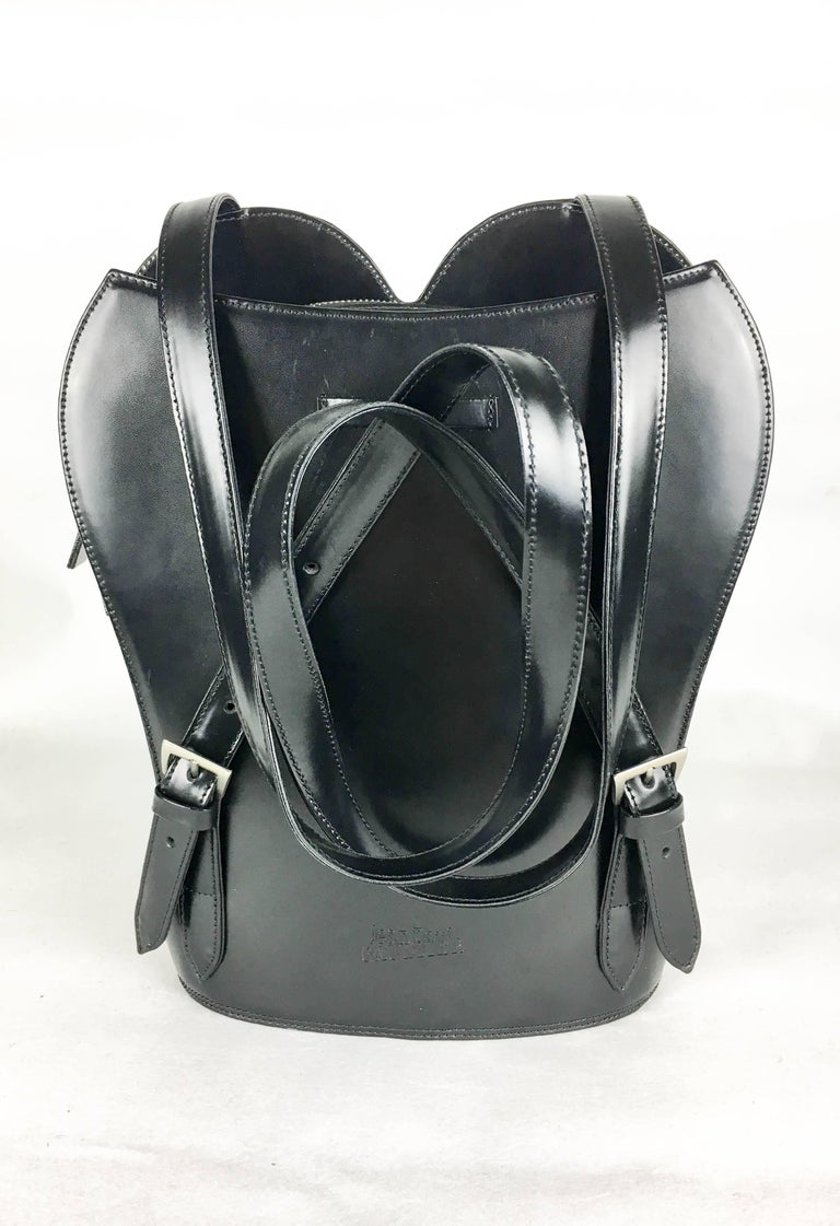 1998 Jean Paul Gaultier Black Leather Bustier Backpack For Sale 3