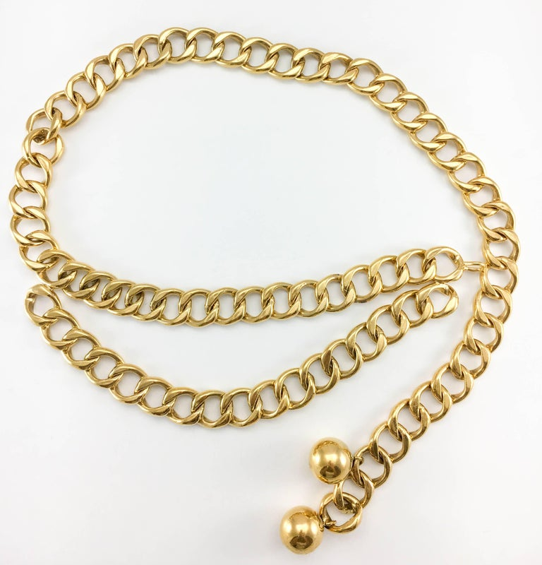 Women's 1980's Chanel Chunky Gilt Chain Belt For Sale