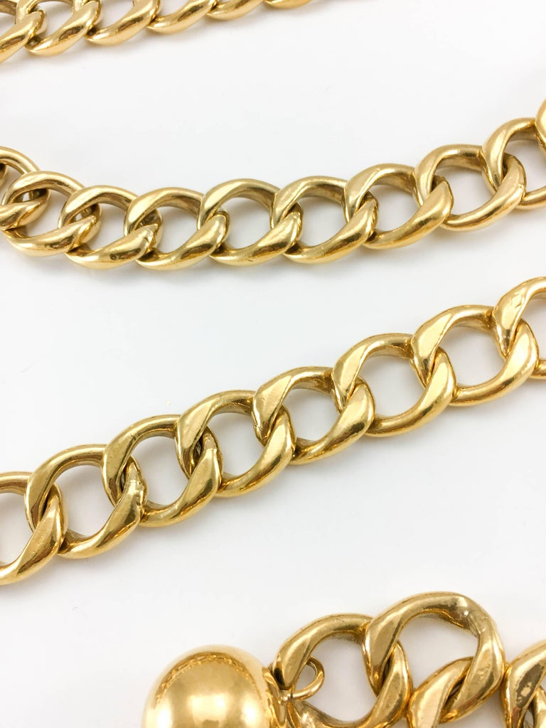 1980's Chanel Chunky Gilt Chain Belt For Sale 2