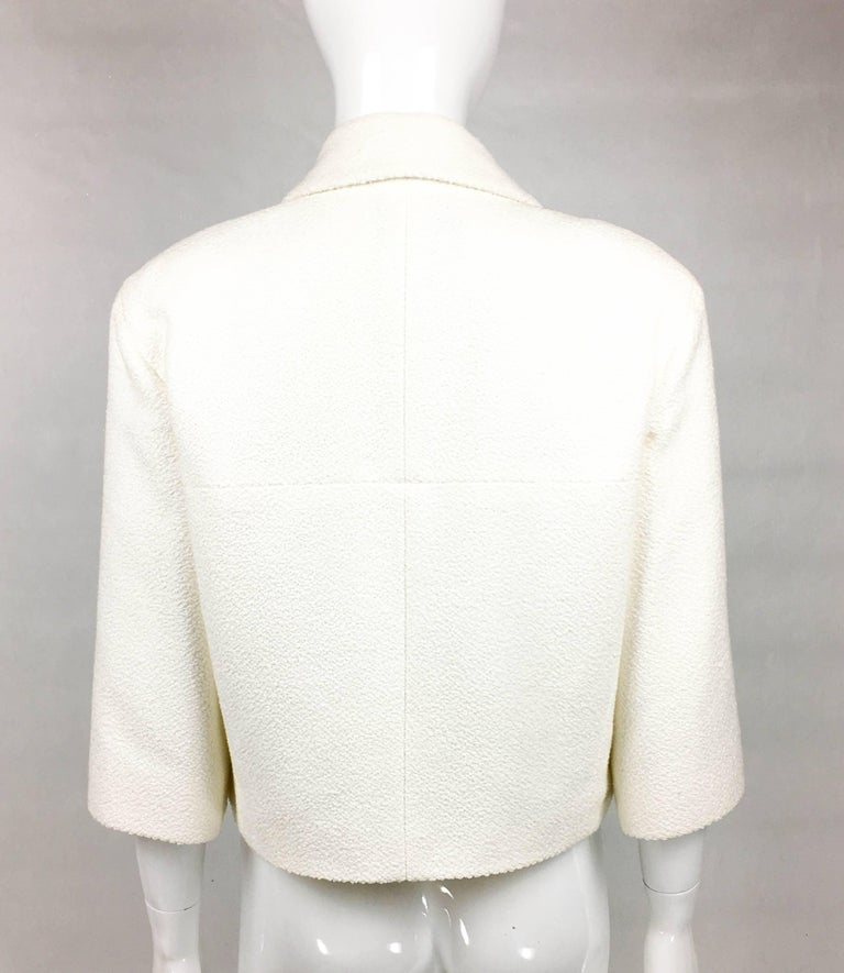 2012 Chanel Runway Look White Cotton Jacket With Faux-Pearl Buttons For Sale 3