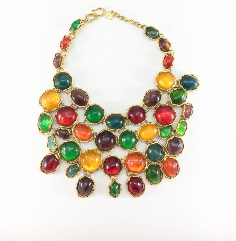 1990 Yves Saint Laurent Chunky Colourful Resin Gem Bib Necklace For Sale 2