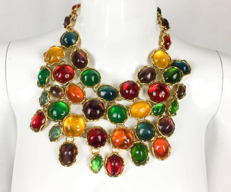 1990 Yves Saint Laurent Chunky Colourful Resin Gem Bib Necklace For Sale 1