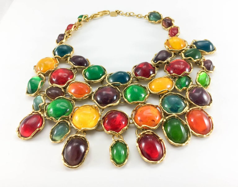 1990 Yves Saint Laurent Chunky Colourful Resin Gem Bib Necklace For Sale 4