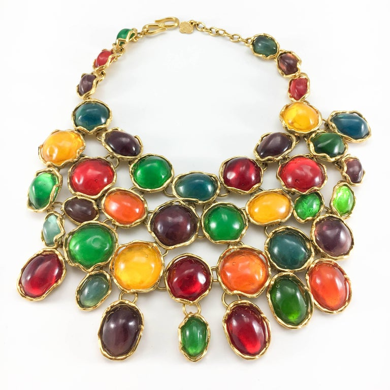 1990 Yves Saint Laurent Chunky Colourful Resin Gem Bib Necklace For Sale 3