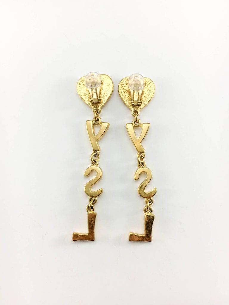 Yves Saint Laurent Long Gold-Plated YSL Dangling Earrings, 1980s  For Sale 2