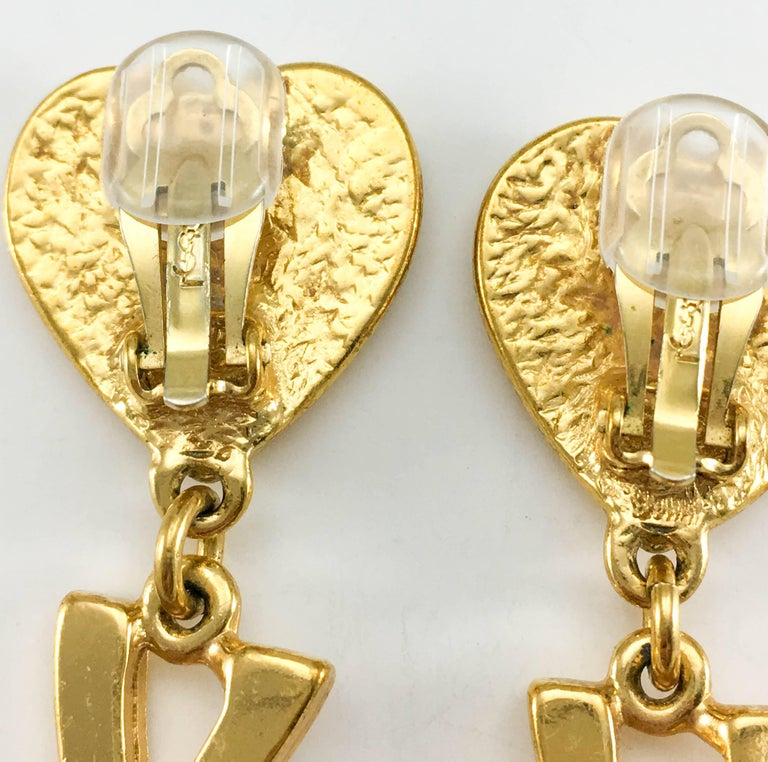 Yves Saint Laurent Long Gold-Plated YSL Dangling Earrings, 1980s  For Sale 3