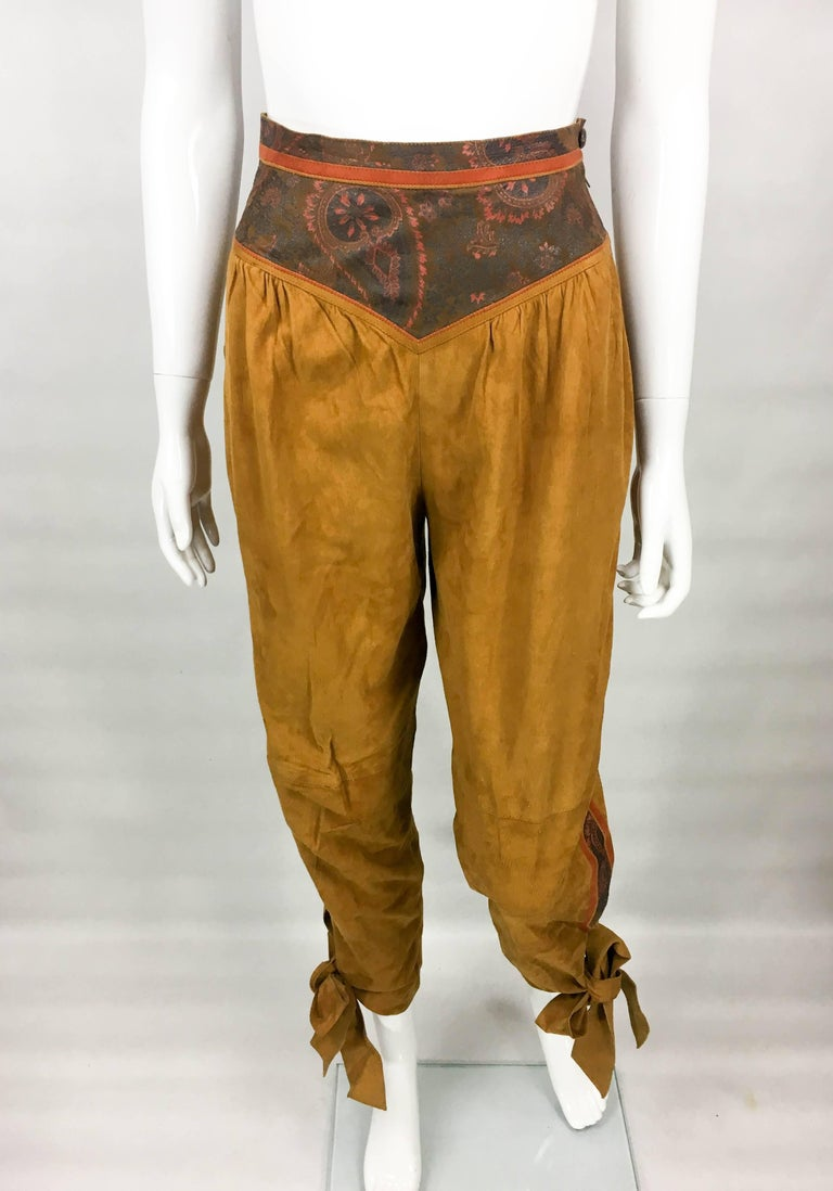 Brown Roberto Cavalli Tan Suede Cropped Pants, 1980s  For Sale