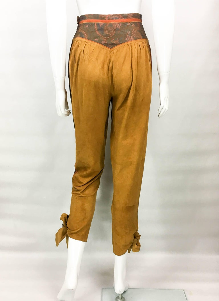 Roberto Cavalli Tan Suede Cropped Pants, 1980s  For Sale 3