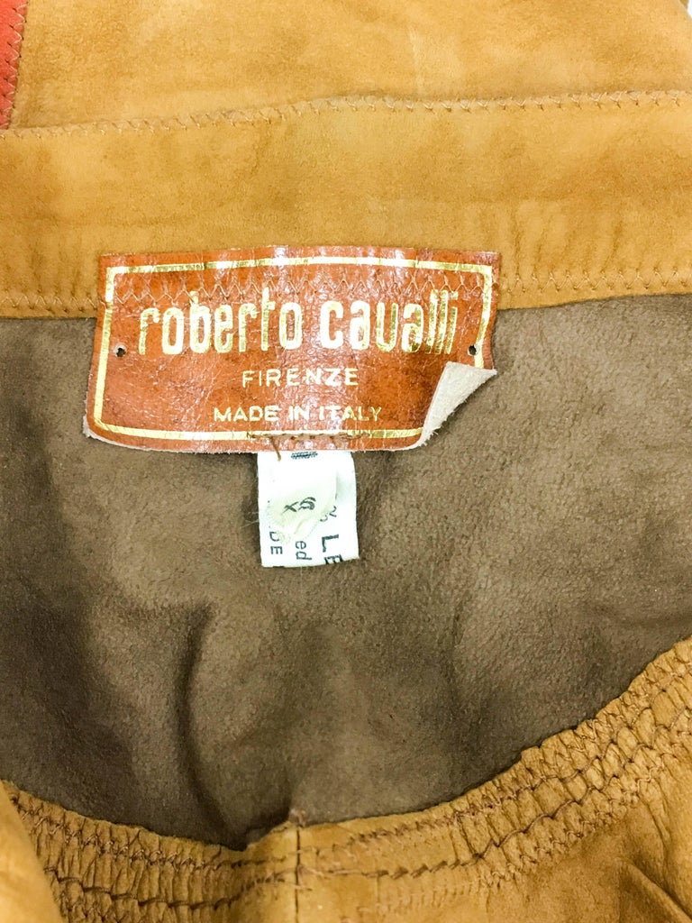 Roberto Cavalli Tan Suede Cropped Pants, 1980s  For Sale 4