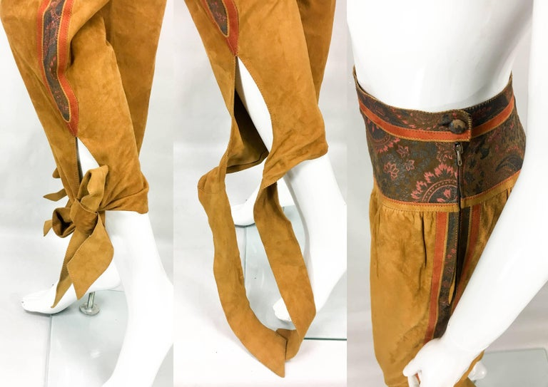 Roberto Cavalli Tan Suede Cropped Pants, 1980s  For Sale 5