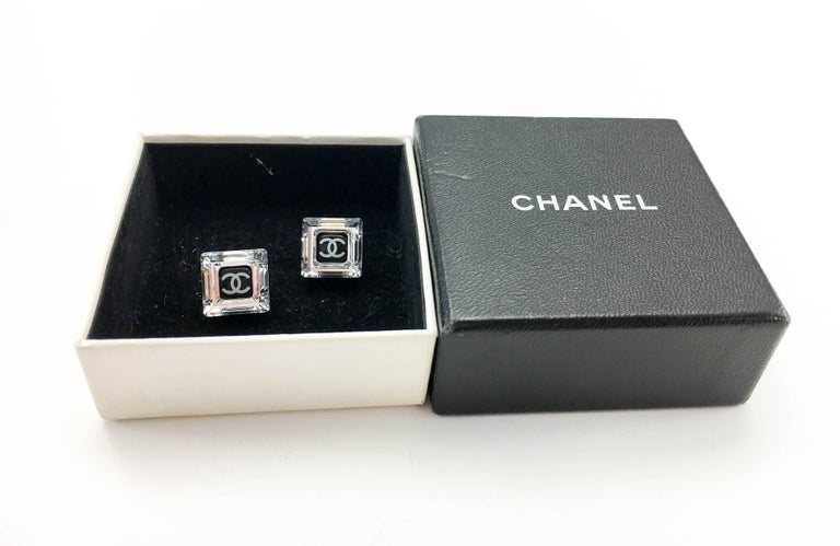 Chanel Square Logo Post Earrings, 2005   For Sale 5