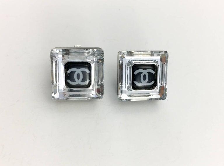 Women's Chanel Square Logo Post Earrings, 2005   For Sale