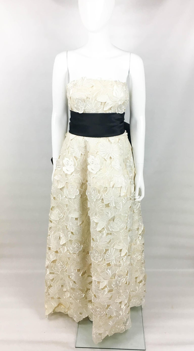 Women's Givenchy Haute Couture Silk Evening Gown With Embroidered Overlayer, 1985  For Sale