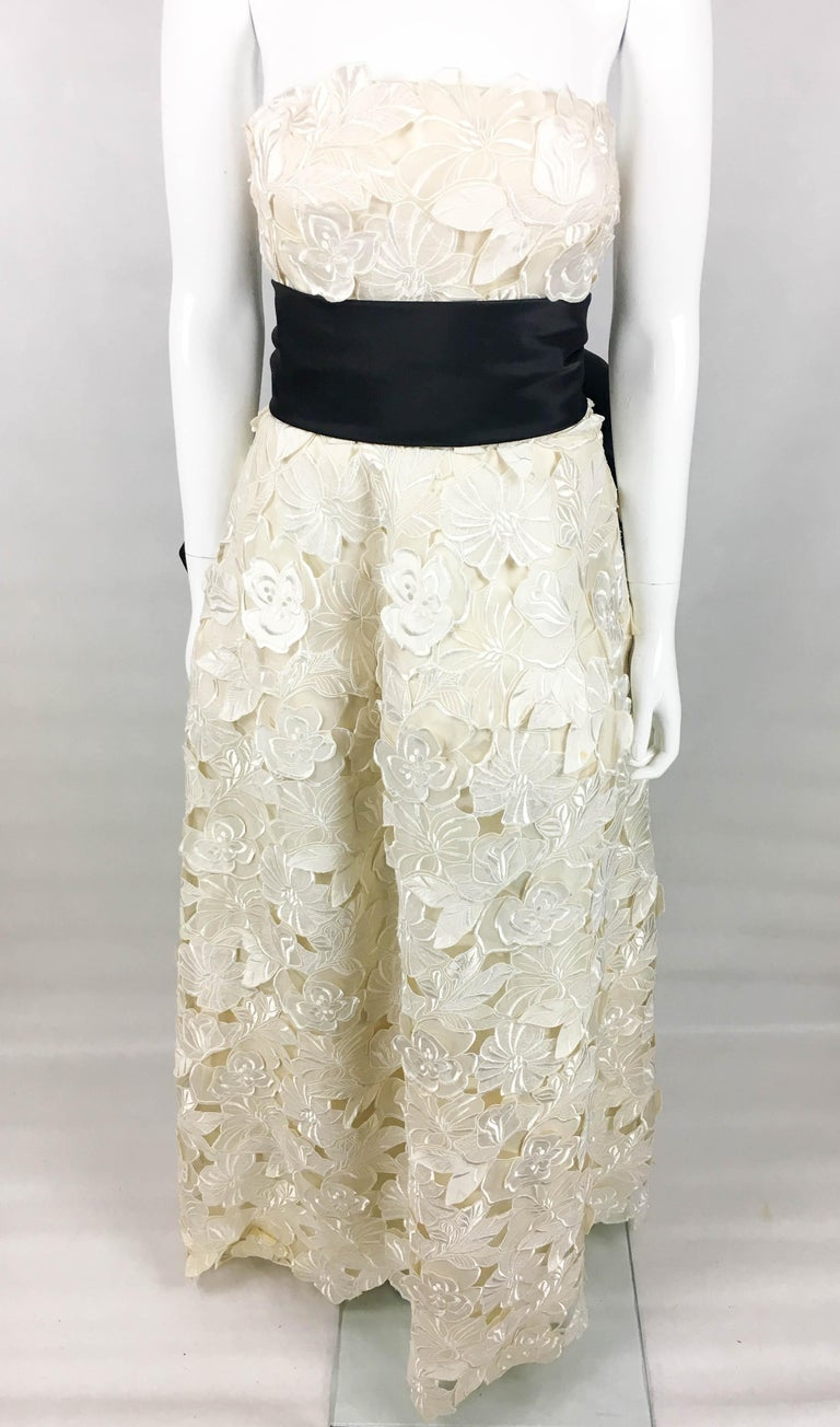 Givenchy Haute Couture Silk Evening Gown With Embroidered Overlayer, 1985  For Sale 1