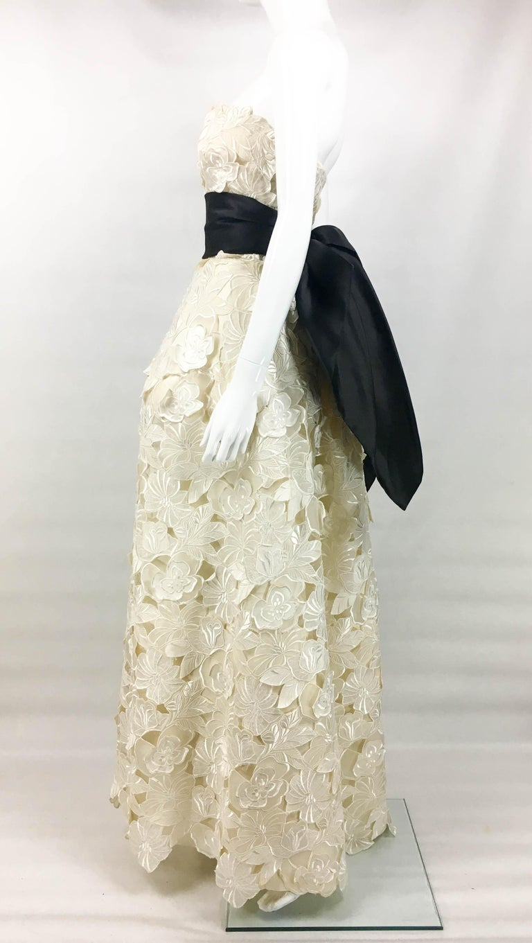Givenchy Haute Couture Silk Evening Gown With Embroidered Overlayer, 1985  For Sale 4
