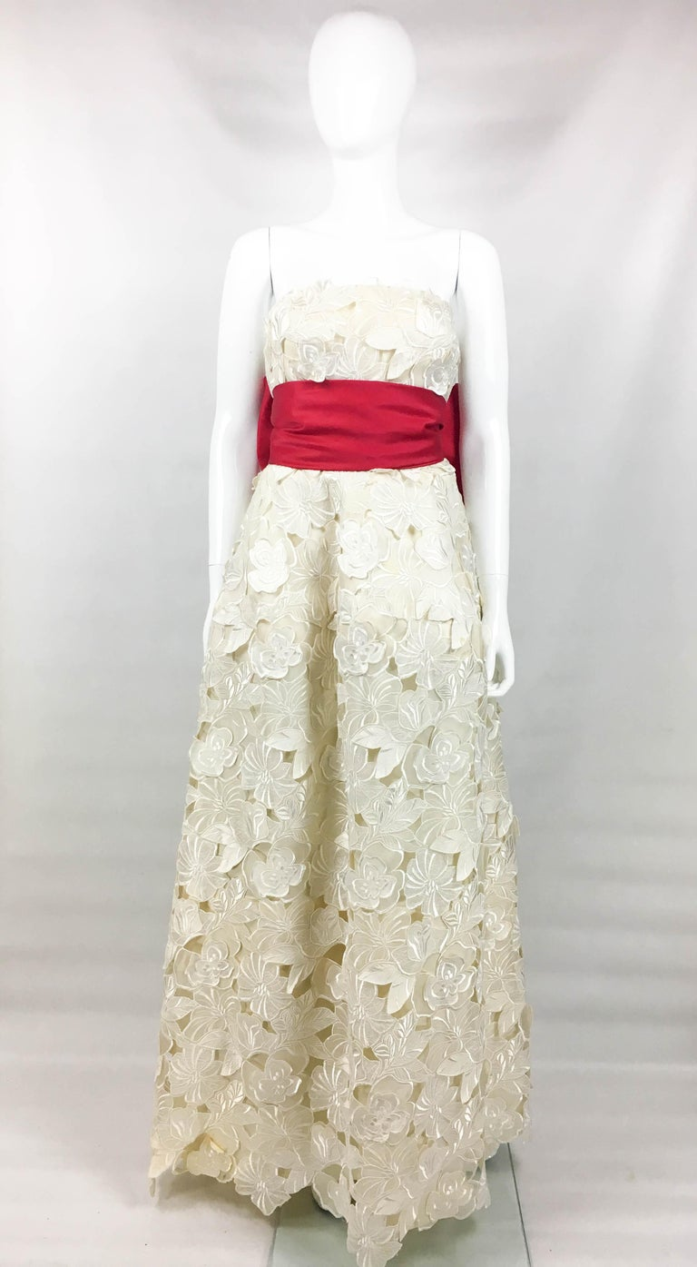 Givenchy Haute Couture Silk Evening Gown With Embroidered Overlayer, 1985  For Sale 6