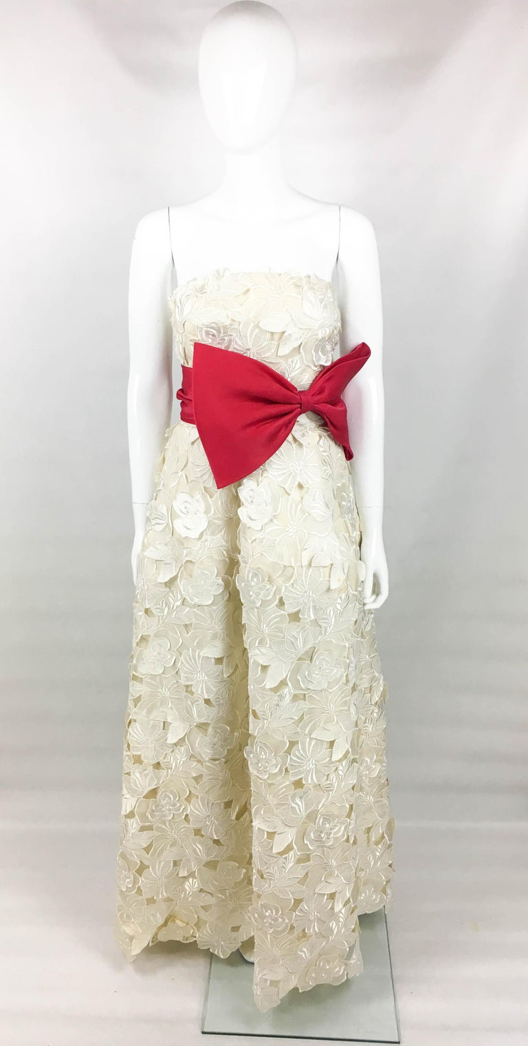 Givenchy Haute Couture Silk Evening Gown With Embroidered Overlayer, 1985  For Sale 7