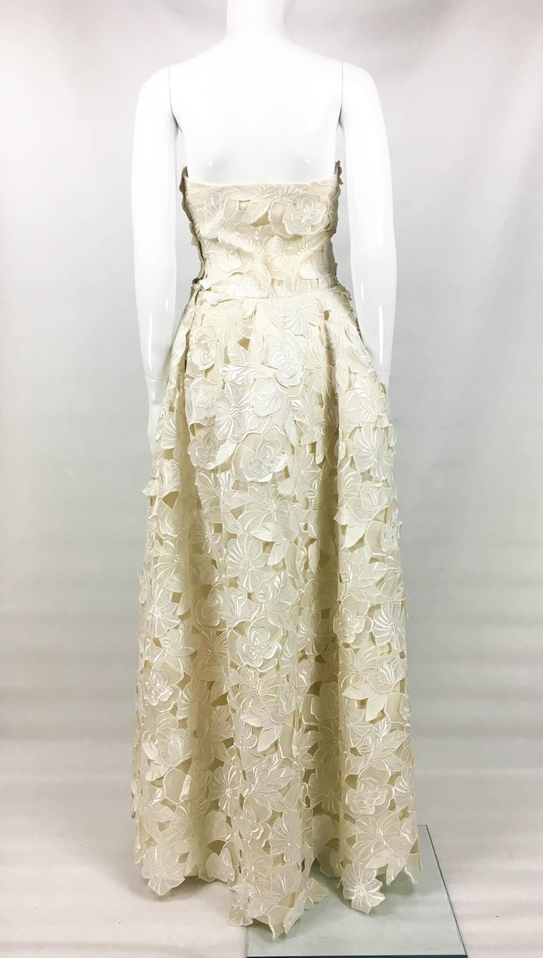 Givenchy Haute Couture Silk Evening Gown With Embroidered Overlayer, 1985  For Sale 9