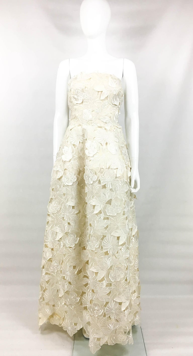 Givenchy Haute Couture Silk Evening Gown With Embroidered Overlayer, 1985  For Sale 8