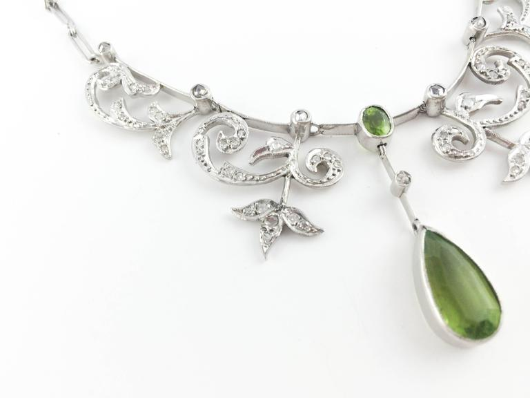 White Gold, Diamonds and Peridot Necklace - 1920s 4