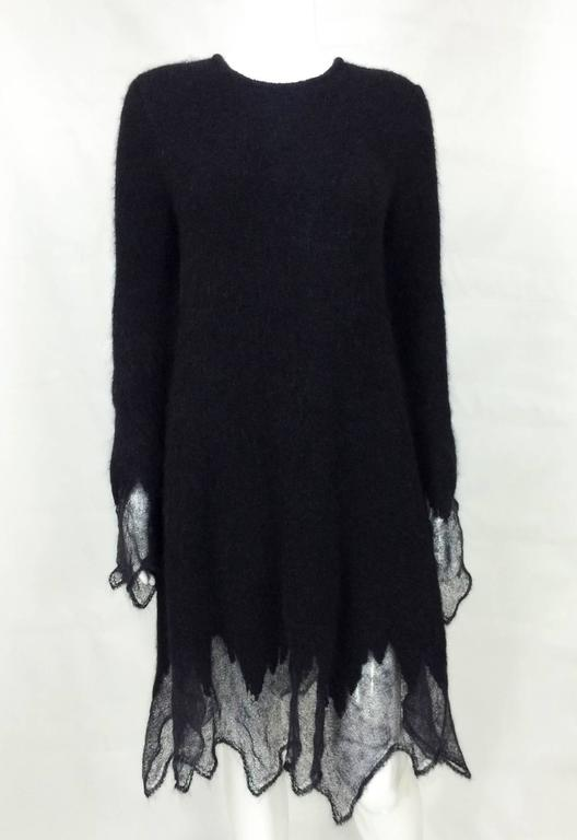 Black Chanel Mohair Dress - Runway Fall 2009 For Sale
