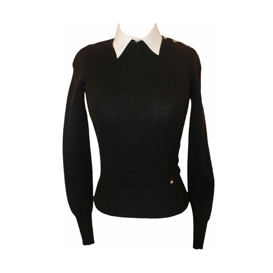 Black t shirt with white collar - Chanel Black Cashmere Sweater With Removable White Collar 34 1