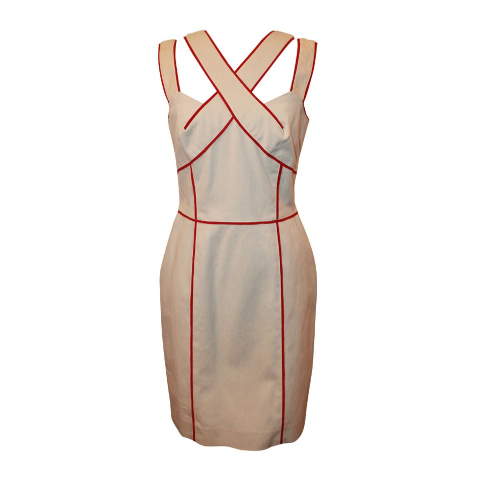 Oscar De La Renta Cream Dress with Red Trim - 10