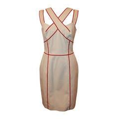 Oscar De La Renta Cream Dress with Red Trim