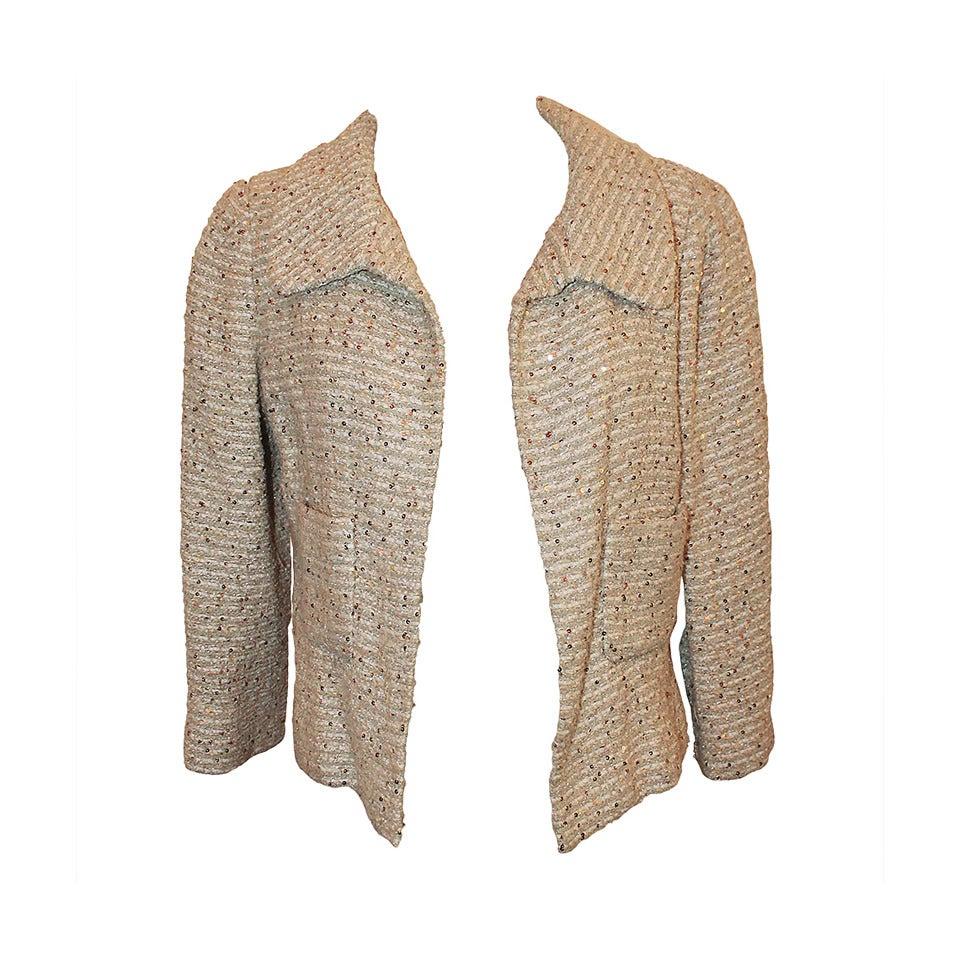 Oscar De La Renta Cream Metallic Tweed with Sequin Jacket - 8 For Sale