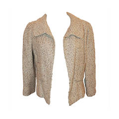 Oscar De La Renta Cream Metallic Tweed with Sequin Jacket - 8