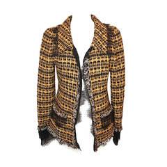 Oscar De La Renta Yellow & Black Tweed Jacket - 10