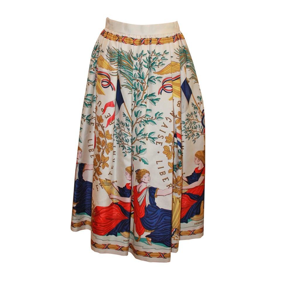 Hermes Vintage Silk Liberty Printed Skirt - circa 1990s - 34 1