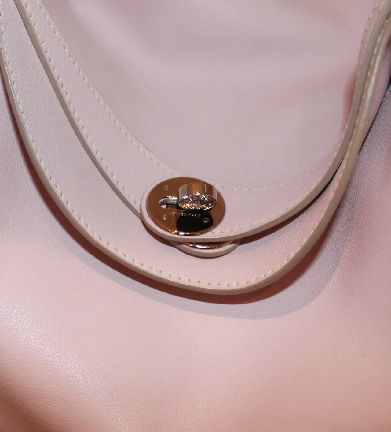 Gray Hermes Rose Dragee 30cm Lindy Veau Swift Handbag - circa 2007 For Sale