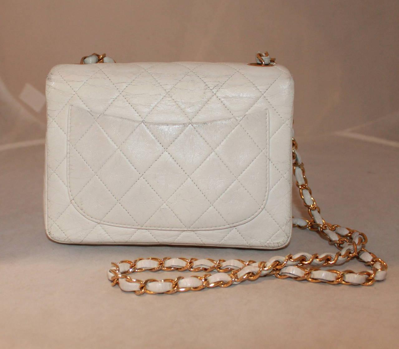 Chanel White Leather Classic Small Handbag - circa 2006 at 1stdibs