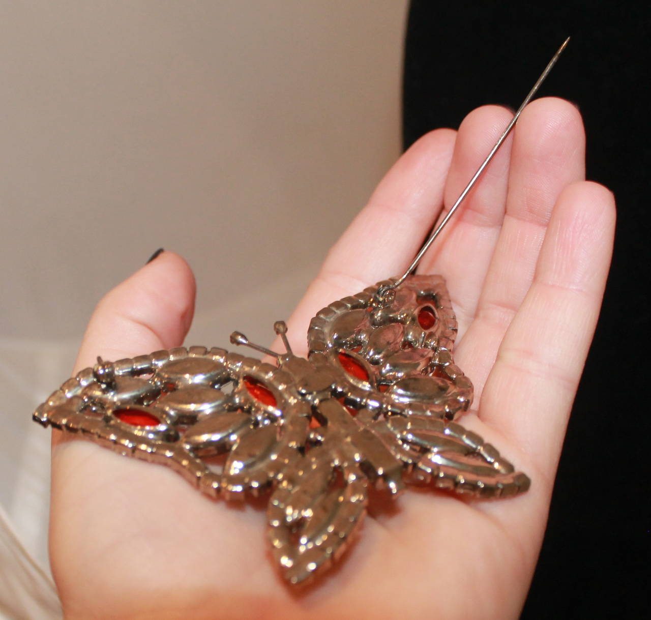Kenneth Jay Lane Vintage Pink Jewel Butterfly Pin 2