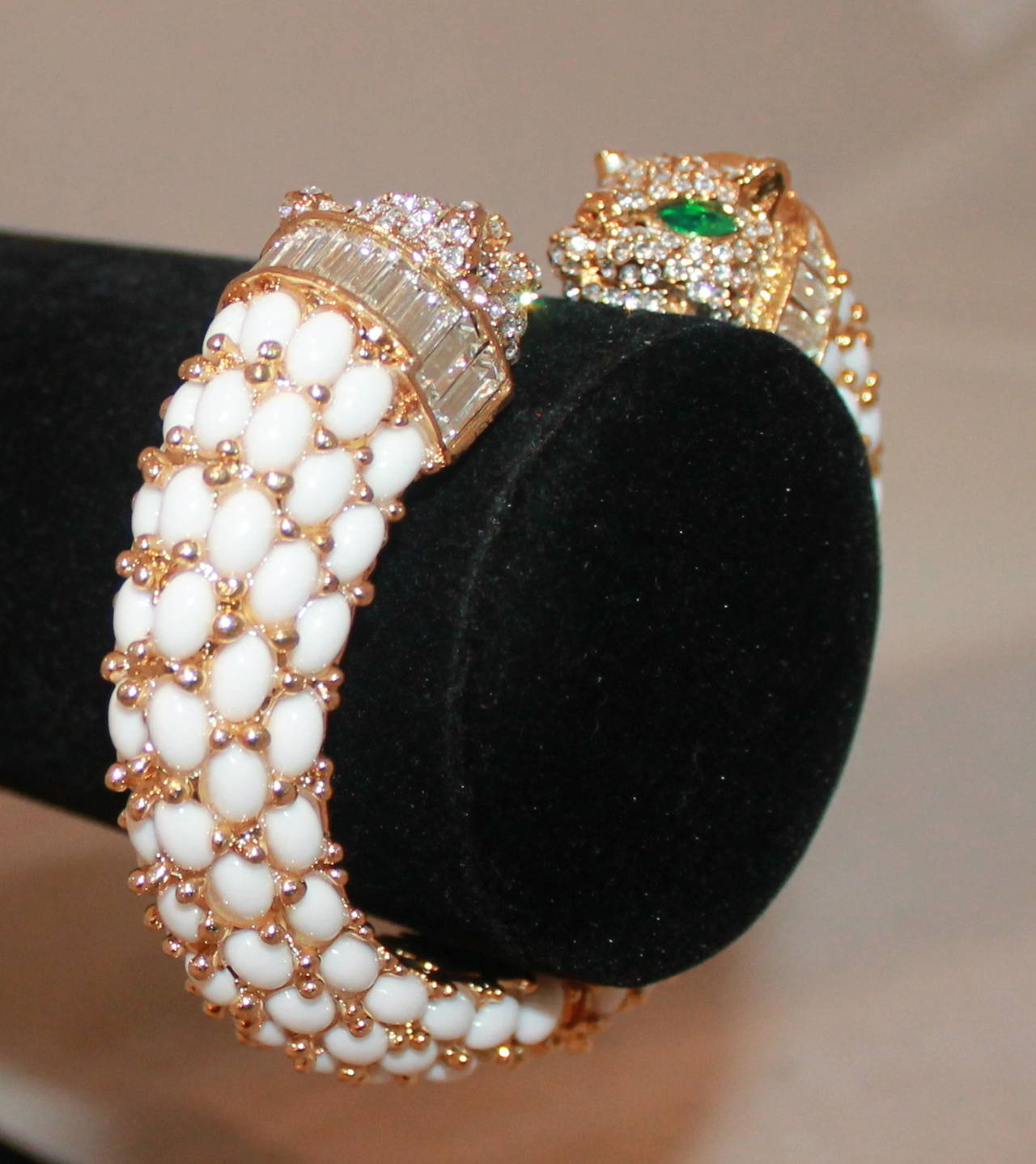 Angelique de Paris Rhinestone Lioness Cuff. This cuff is in excellent condition and is a one of a kind piece.  Width- 0.75