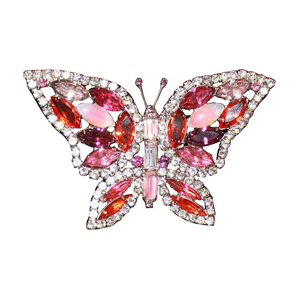 Kenneth Jay Lane Vintage Pink Jewel Butterfly Pin 1