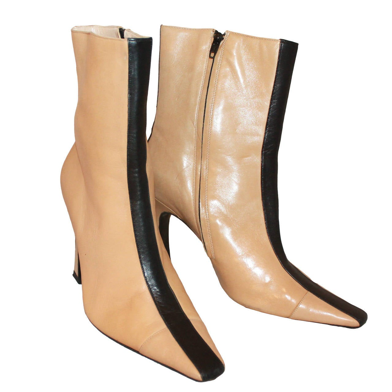 Chanel Tan Leather Booties With Black Stripe 36 5 At 1stdibs