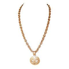 Chanel Vintage Gold Medallion Necklace - circa 1994