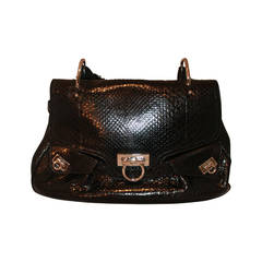 Salvatore Ferragamo Black Python Shoulder Bag SHW