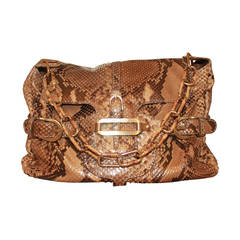 Jimmy Choo Earth Tone Metallic Python Shoulder Handbag