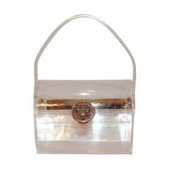 Wilardy Rare Vintage Clear Lucite Treasure Chest Handbag - circa 1950s