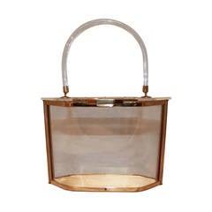 Majestic Vintage Hexagon Clear Lucite Handbag - circa 1950s