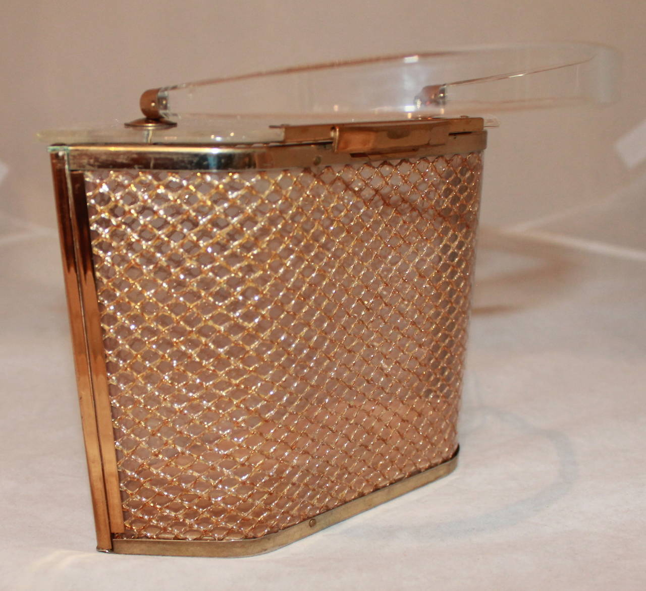 majestic vintage hexagon gold netted lucite handbag