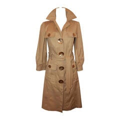 Oscar De La Renta Beige Cotton Trench Coat - 4