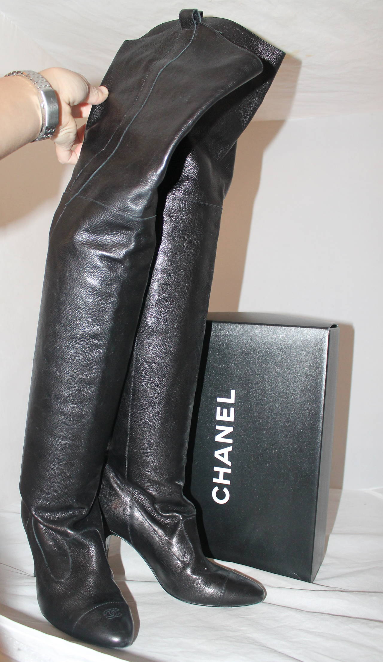 chanel chocolate brown thigh high boots 36 5 at 1stdibs