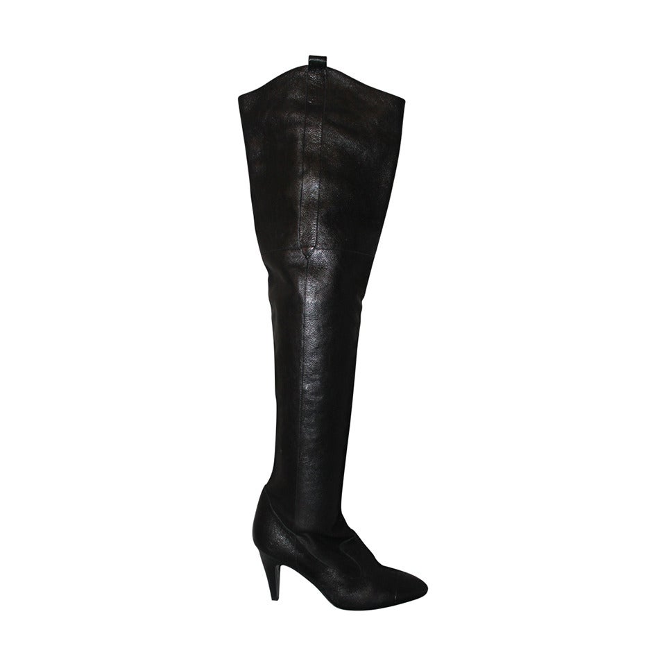 297caad5f3cf Chanel Deep Chocolate Brown Thigh High Boots - 36.5 at 1stdibs
