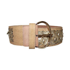 Oscar de la Renta Tan Canvas & Sequin Belt - M