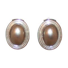 Christian Dior Vintage Mabe Grey Pearl Clip Earrings - circa 1980s