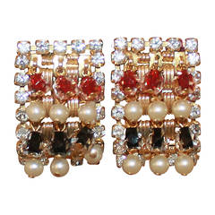 Hobe Vintage Pearl and Ruby Sapphire Rhinestone Clip Earrings, circa 1980s